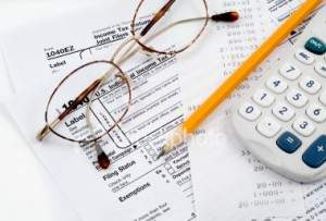 glasses and calculater
